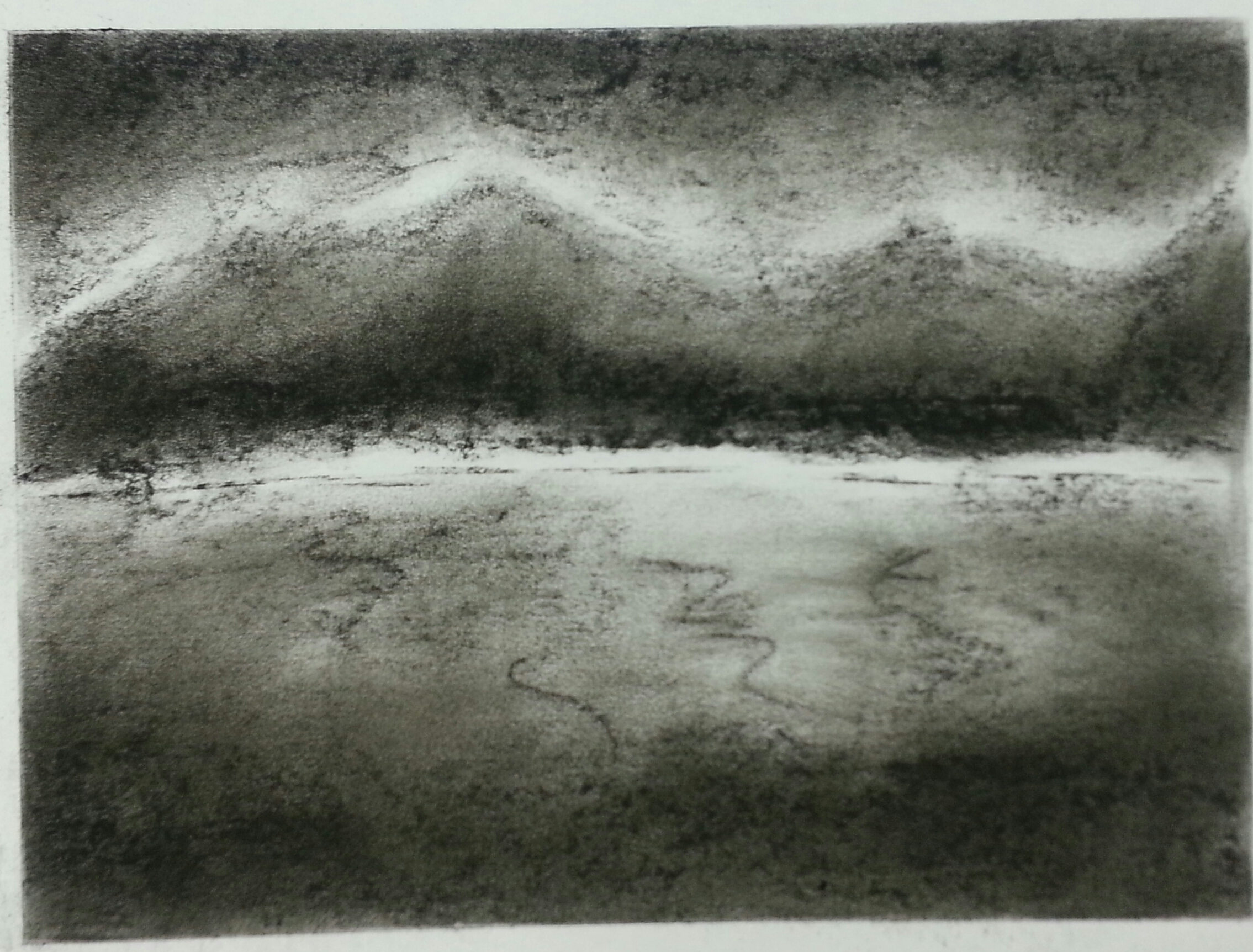 Charcoal Mountain and Lake First Sketch